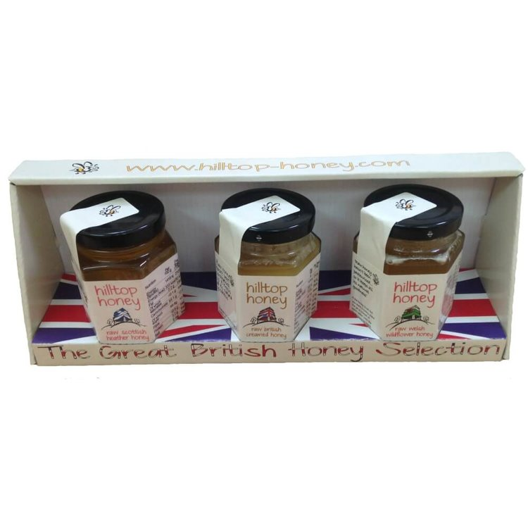 Great British Raw Honey Gift Selection 3 x 110g by Hilltop Honey