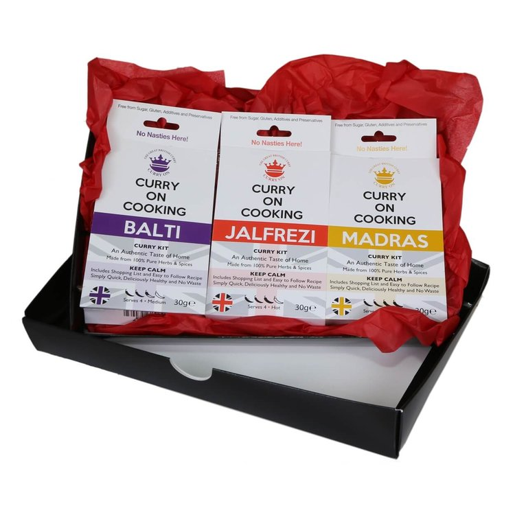 Medium to Hot Curry Lover's Gift Box (With Balti, Jalfrezi & Madras Curry Kits)