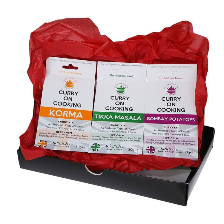 Mild to Medium Curry Lover's Gift Box (Korma, Tikka Masala & Bombay Potatoes)