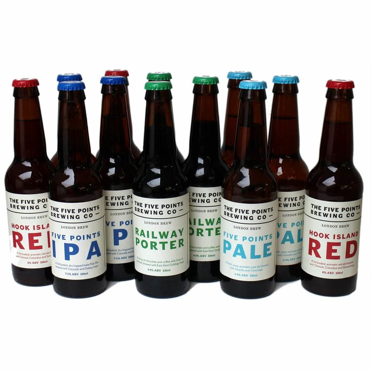 Five Points Brewery Craft Beer Mixed Case (Inc. Rye Ale, IPA, Pale Ale & Railway Porter) 12 x 330ml