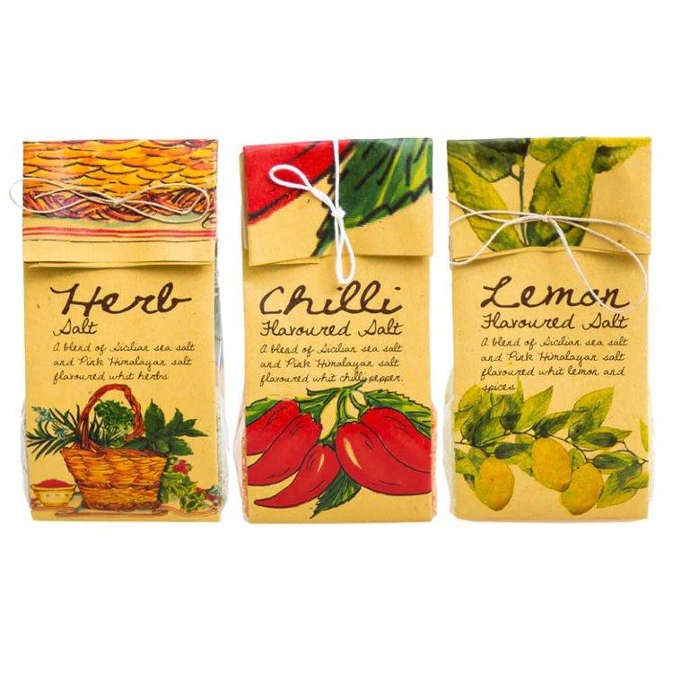 Sicilian Gourmet Salts Mixed Pack (Herb, Chilli, Lemon) 3 x 200g