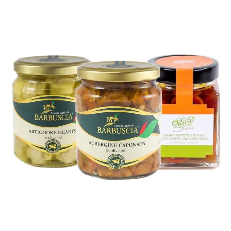 Italian Antipasti Selection Inc. Artichokes, Sicilian Aubergine Caponata & Calabrian Stuffed Chilli Peppers 3 x 314ml