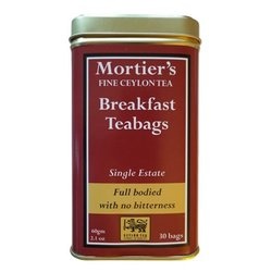 Ceylon Breakfast Single Estate 30 Tea Bags in Tin Tea Caddy 60g