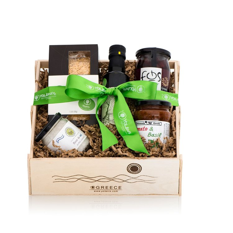 Greek Pasta Recipe Gift Crate with Olives and Tomato Sauce