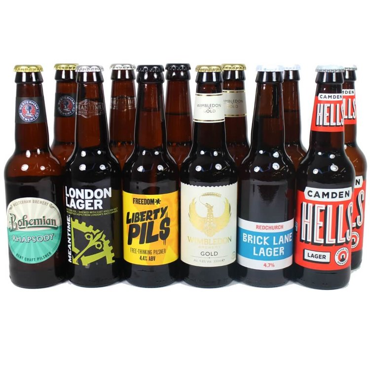 UK Craft Lager Beer 12 Bottle Mixed Case (Inc. Camden Town, Freedom, Meantime, Redchurch)