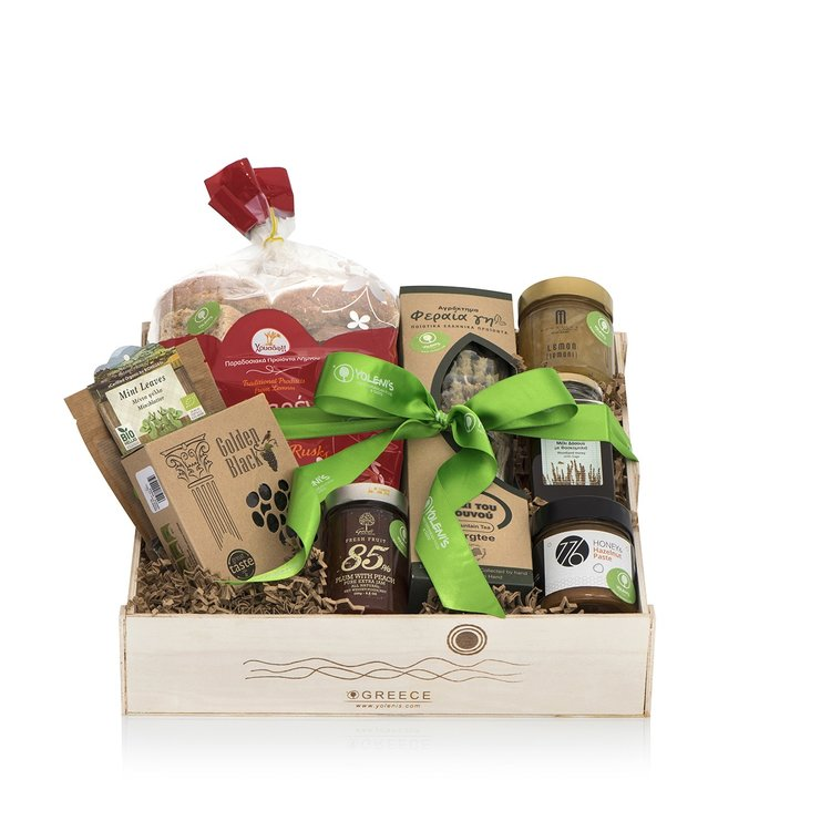 Greek Breakfast Gift Crate with Honey, Tea and Jams
