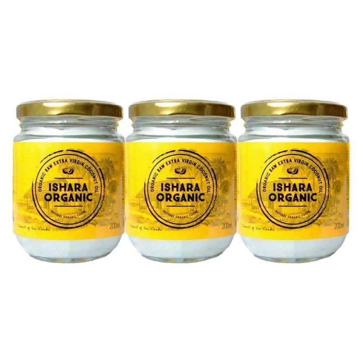 Extra Virgin Coconut Oil 3 x 200g (Cold Pressed, Raw & Organic) From Sri Lanka