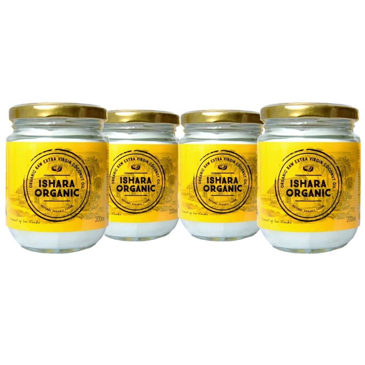 Extra Virgin Coconut Oil 4 x 200g (Cold Pressed, Raw & Organic) From Sri Lanka