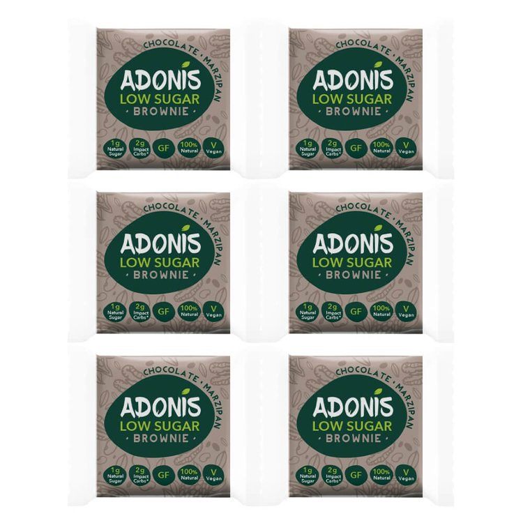 6 x Low Sugar Chocolate & Almond Flour Brownies Snack (6 x 50g) by Adonis