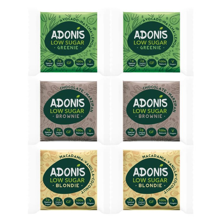 6 x Low Sugar Brownies - Variety Box by Adonis Inc. Macadamia, Chocolate & Matcha