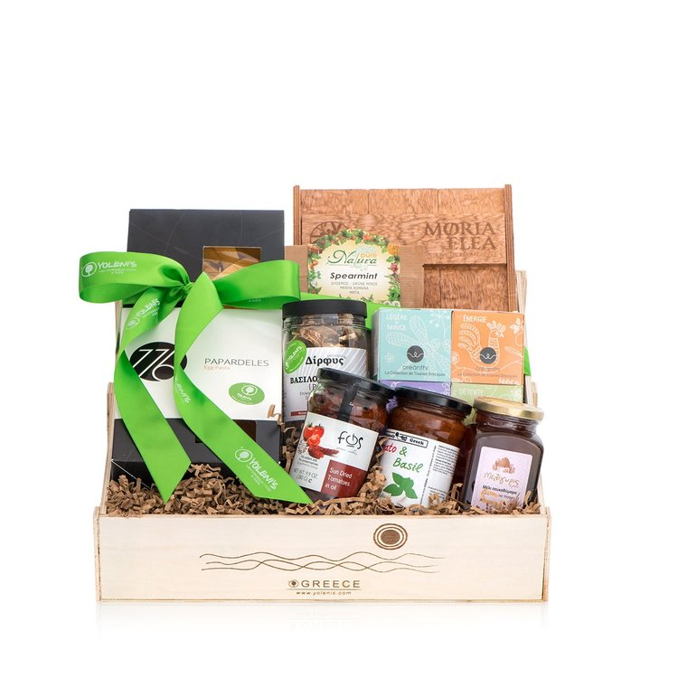 Deluxe Greek Produce Gift Crate with Olive Oil, Tea & Honey