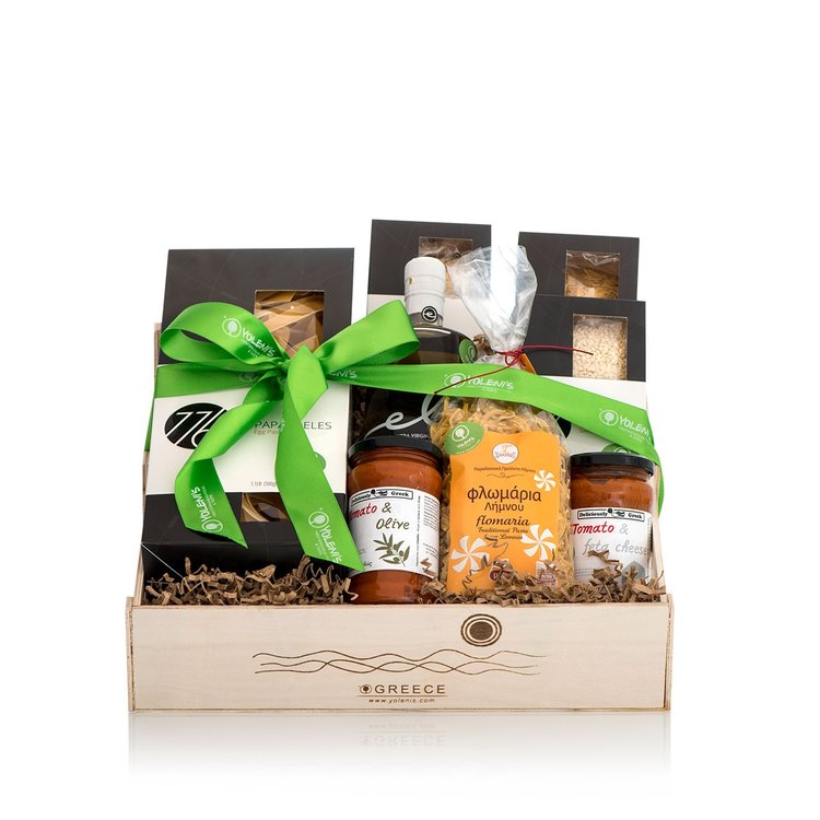 Deluxe Greek Pasta Recipe Gift Crate with Olive Oil