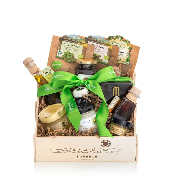 Luxury Greek Produce Gift Crate with Olive Oils, Honey & Herbs