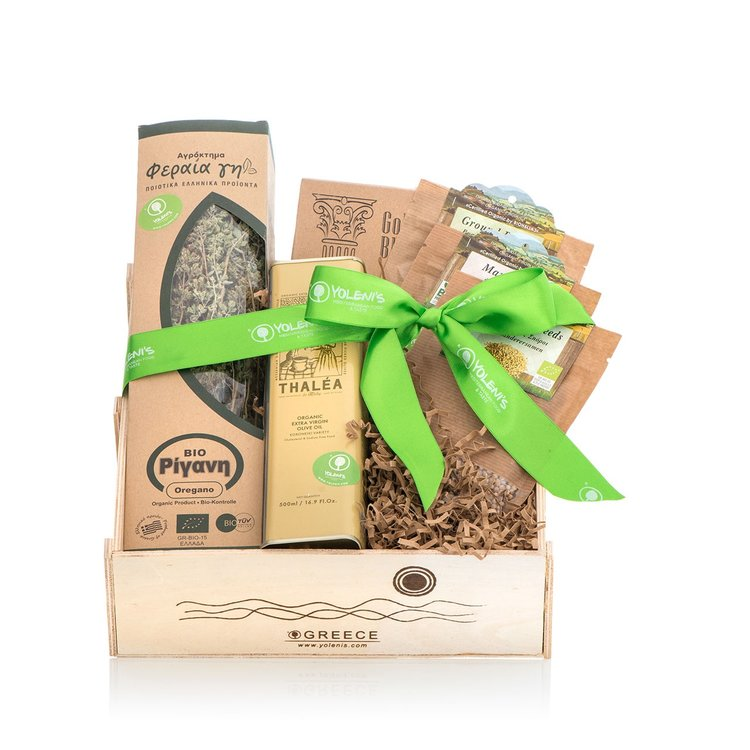 Organic Greek Herbs Gift Crate with Olive Oil