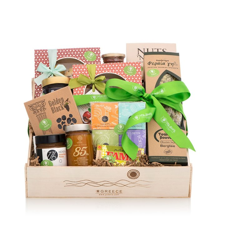 Luxury Sweet Greek Produce Gift Crate with Biscuits, Nuts & Spreads