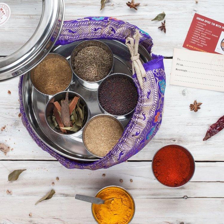 Indian Masala Dabba Gift Spice Tin with 10 Spices & Silk Sari Wrap