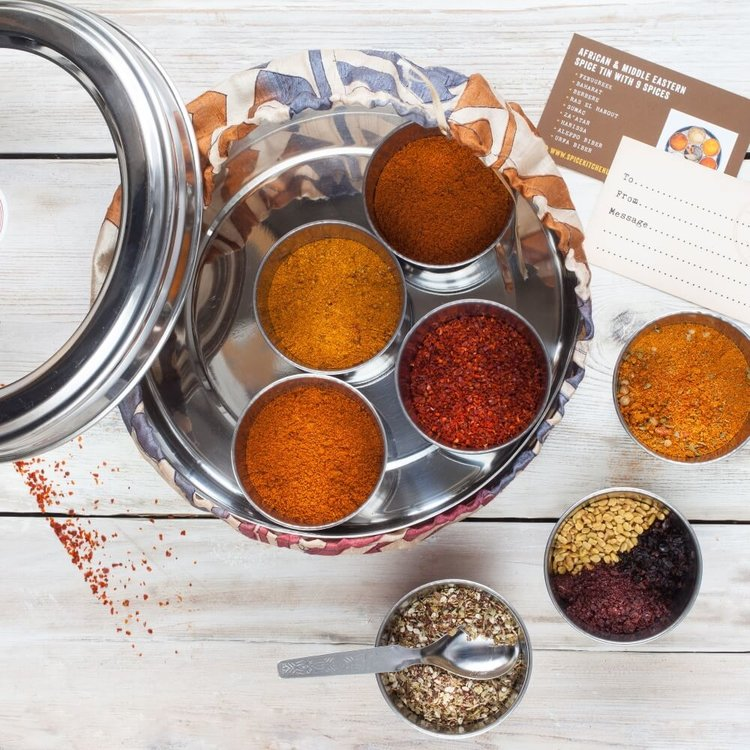 African & Middle Eastern Gift Spice Tin ('Masala Dabba') with 9 Spices & Silk Sari Wrap
