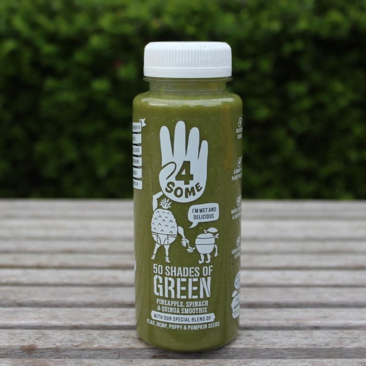 4 x Green Smoothies '50 Shades of Green' with Pineapple, Spinach, Pea Protein & Seeds 250ml