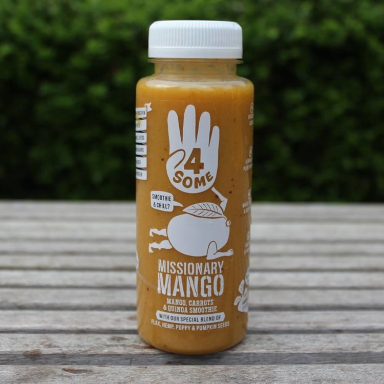 4 x 'Missionary Mango' Smoothies with Mango, Apples, Carrots, Pea Protein, Quinoa & Seeds 250ml