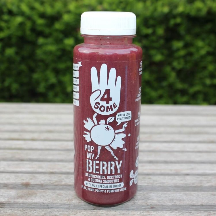 4 x Berry Smoothies 'Pop My Berry' with Blueberries, Beetroot, Seeds & Pea Protein 250ml