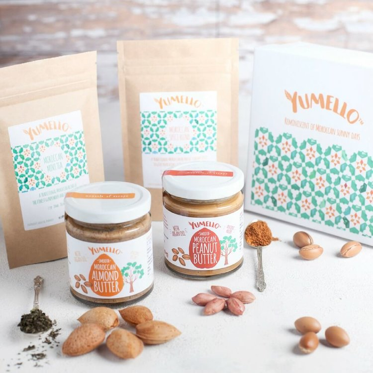 Moroccan Gift Box Inc. Almond & Peanut Nut Butters, Loose Leaf Mint Tea & Spice Blend