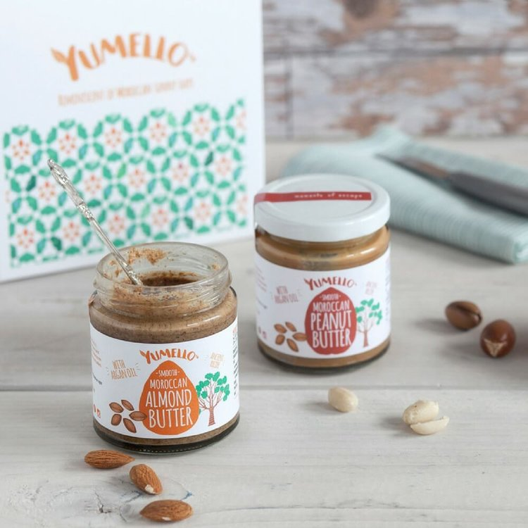 Moroccan Almond and Peanut Nut Butters Gift Box with Argan Oil and Honey