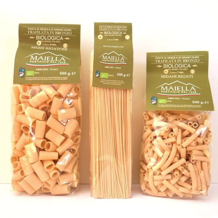 3 x Organic Pasta 500g - Spaghetti, Rigatoni & Sedani Rigati (Made with Durum Wheat, From Abruzzo)