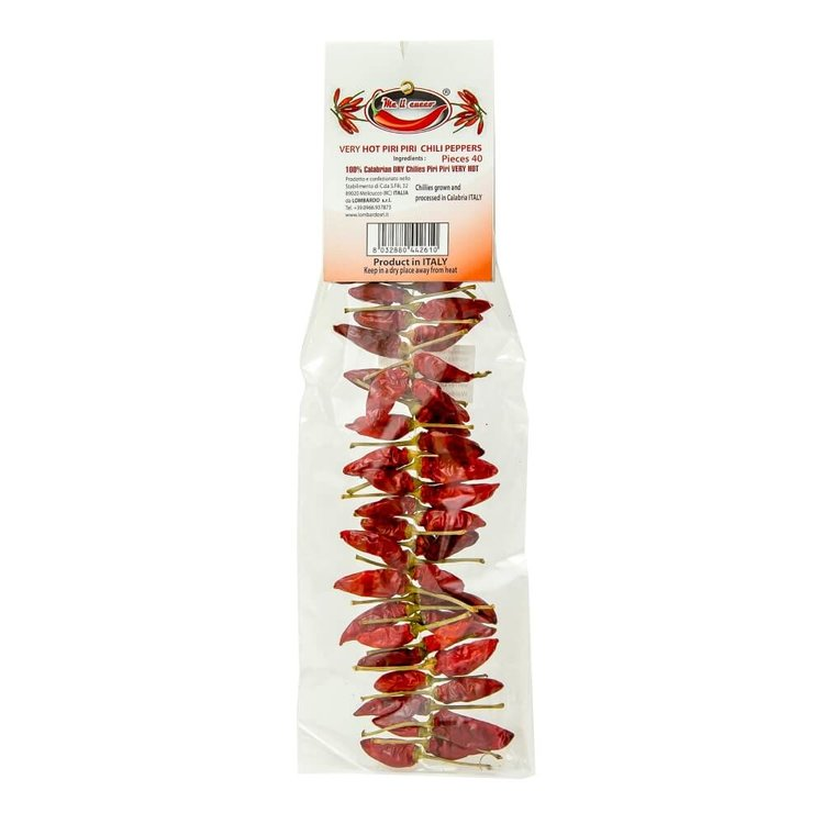String of 40 Whole Dried Piri Piri Calabrian Hot Chillies 'Peperoncini'
