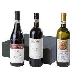 Piemonte Organic Natural Italian Wine Gift Hamper Inc. Barbera, Biodynamic Gavi & Barolo (3 Bottles)
