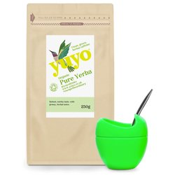 Pure Yerba Mate & Mini Green Mateo with Bombilla Gift Set by Yuyo (Tea & Silicone Cup)