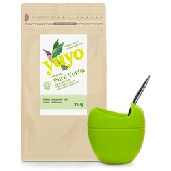 Pure Yerba Mate & Large Green Mateo with Bombilla Set by Yuyo (Tea & Silicone Cup)