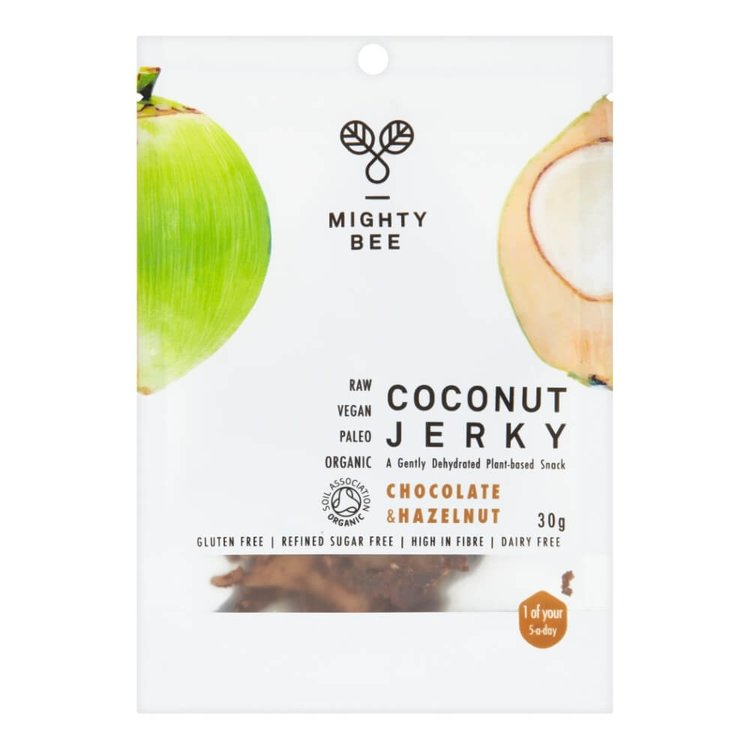 Raw Chocolate & Hazelnut Coconut Meat 'Jerky' 30g by Mighty Bee (Organic)