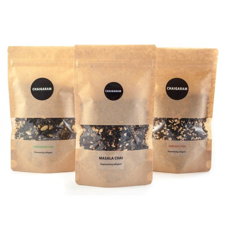 Loose Leaf Chai Teas Set 3 x 125g With Fairtrade Indian Assam (Ginger, Cardamom & Masala Blends)