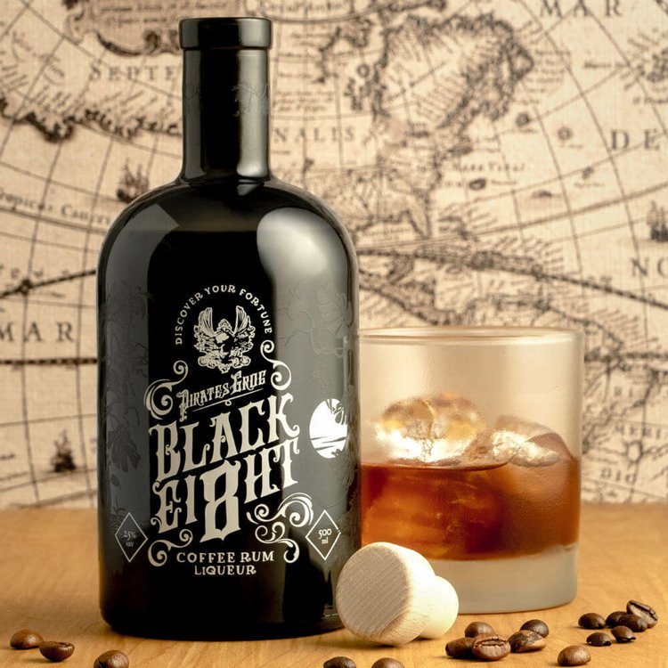 Pirate's Grog 'Black Ei8ht' Coffee-infused 5 Year Aged Honduran Rum with Personalised Scroll