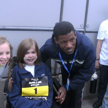 Kirsty Howard with Haile Gebrselassie
