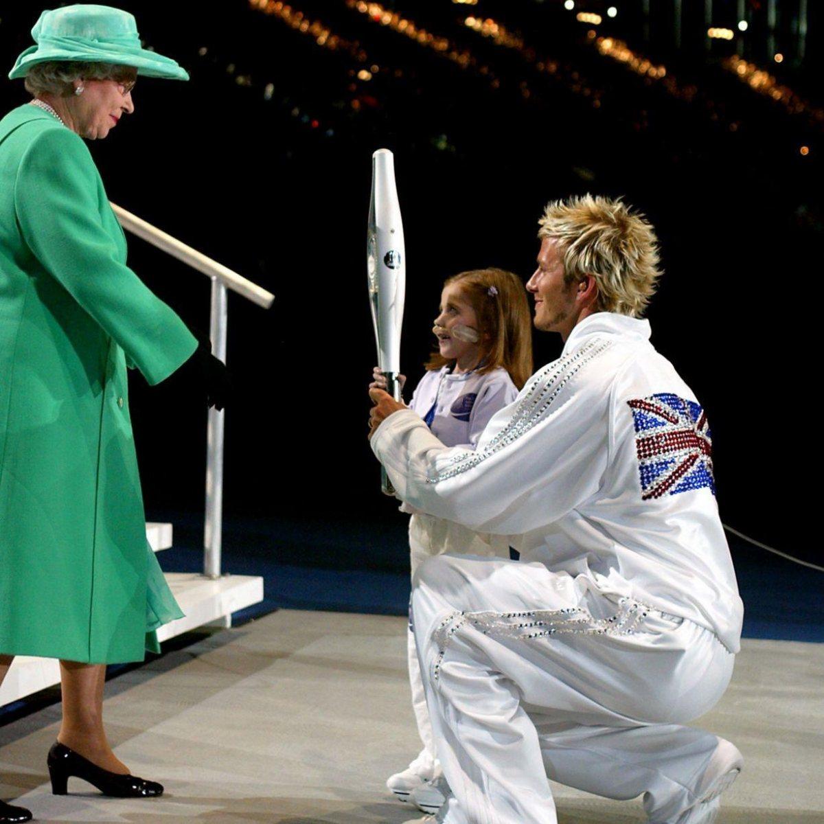 Queen Elizabeth & David Beckham with Kirsty