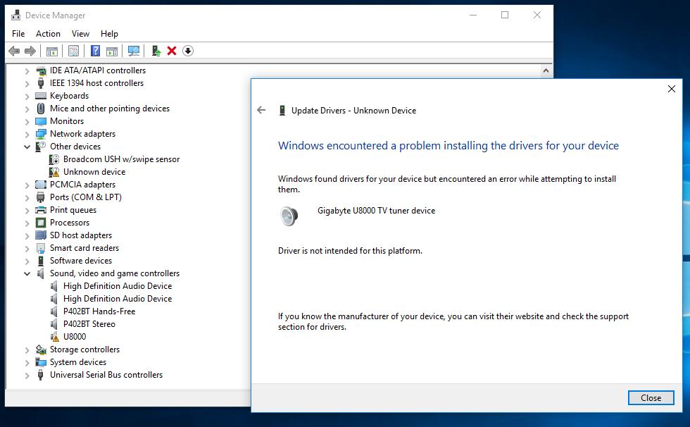 gigabyte u8000 windows 10 driver