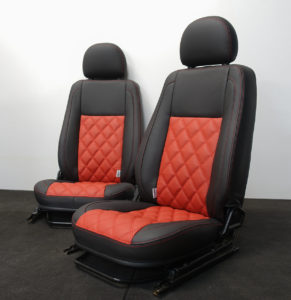 Black and red nappa leather land rover defender for Tyson Fury