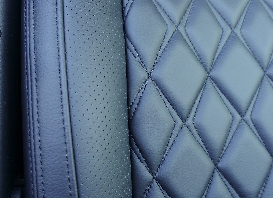 Close up of leather and stitching