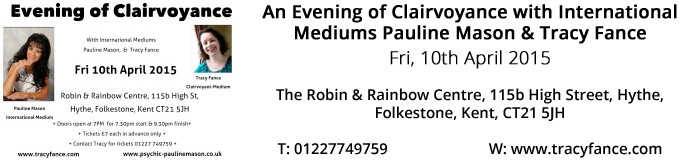 An Evening of Clairvoyance with International Mediums 15th April 2015