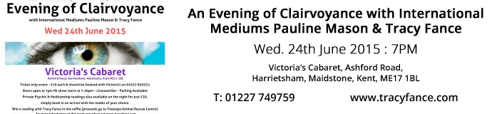An Evening of Clairvoyance with International Mediums Pauline Mason & Tracy Fance - Kent 24th June 2015