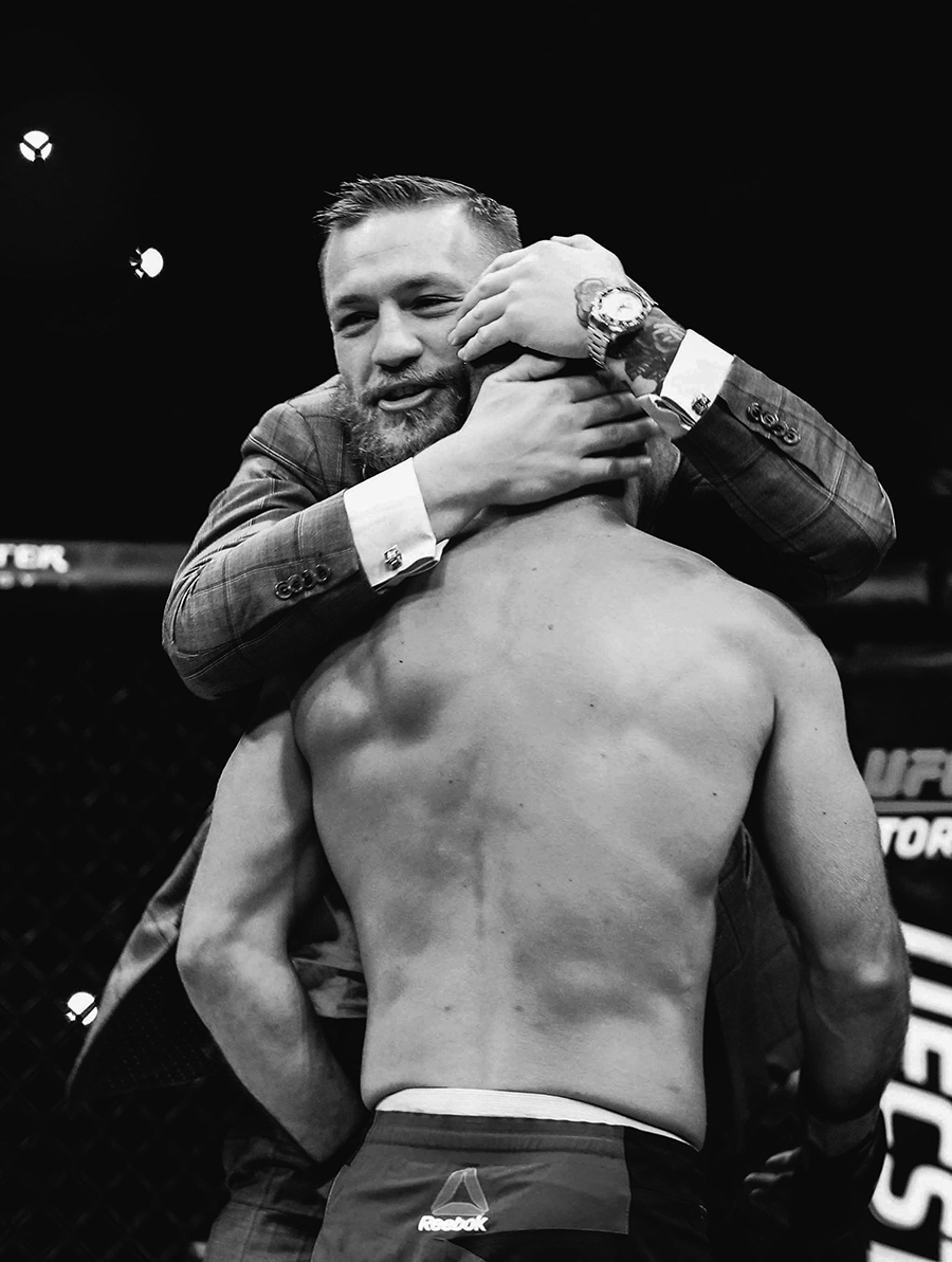 UFC Featherweight and Lightweight Champion Conor McGregor celebrates with Artem Lobov following his victory Mandatory Credit A�INPHO/Presseye/Matt Mackey