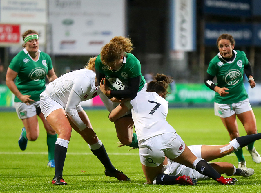 Women's Six Nations Championship Round 5, Donnybrook, Ireland 17/3/2017 Ireland vs England Ireland's Jenny Murphy and Marlie Packer of England Mandatory Credit A�INPHO/James Crombie