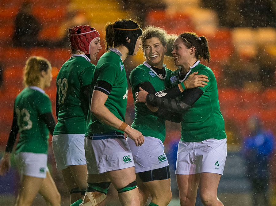 Women's Six Nations Championship Round 1, Broadwood Stadium, Cumbernauld, Scotland 3/2/2017 Scotland vs Ireland Ireland's Jenny Murphy celebrates scoring the winning try Mandatory Credit A�INPHO/Craig Watson