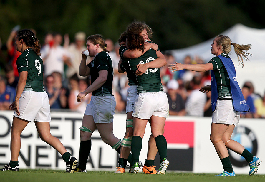 2014 Women's Rugby World Cup Pool B, FFR Headquarters, Marcoussis, Paris, France 5/8/2014 Ireland Lynne Cantwell and Jenny Murphy celebrate Mandatory Credit A�INPHO/Dan Sheridan