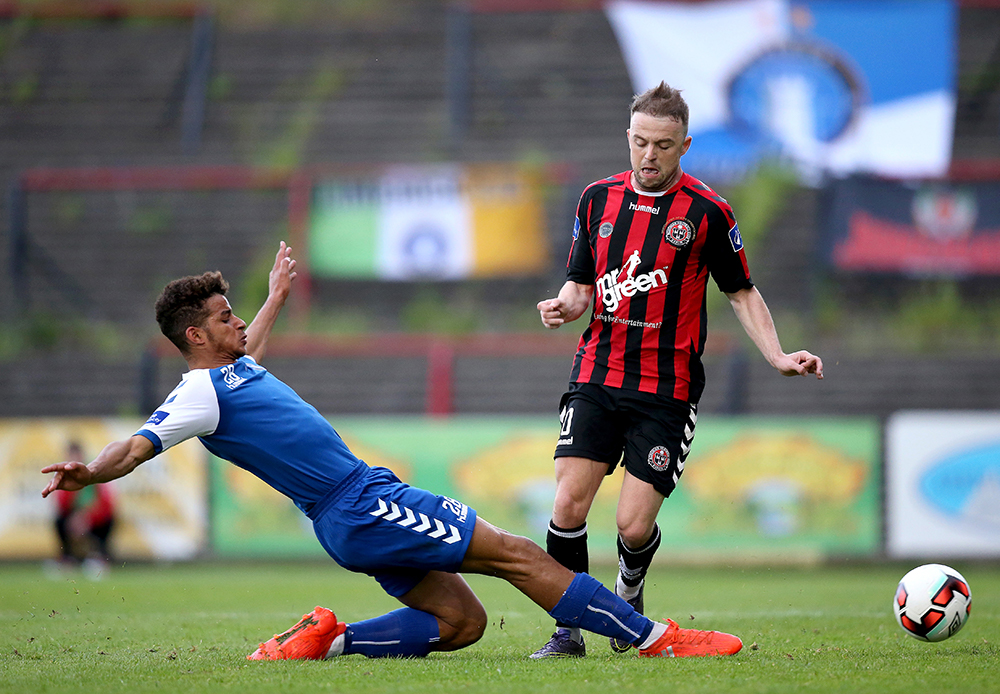 SSE Airtricity League Premier Division, Dalymount Park, Dublin 23/5/2017 Bohemians vs Limerick Bohemian FC's Keith Ward with Limerick FC's Barry Cotter Mandatory Credit A�INPHO/Oisin Keniry