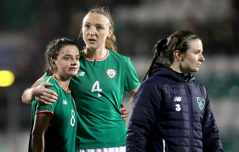 Louise Quinn - TSC - FIFA 2019 Women's World Cup Qualifier, Tallaght Stadium, Dublin 10/4/2018 Republic of Ireland vs The Netherlands Ireland's Leanne Kiernan and Louise Quinn dejected after the game Mandatory Credit ©INPHO/Ryan Byrne