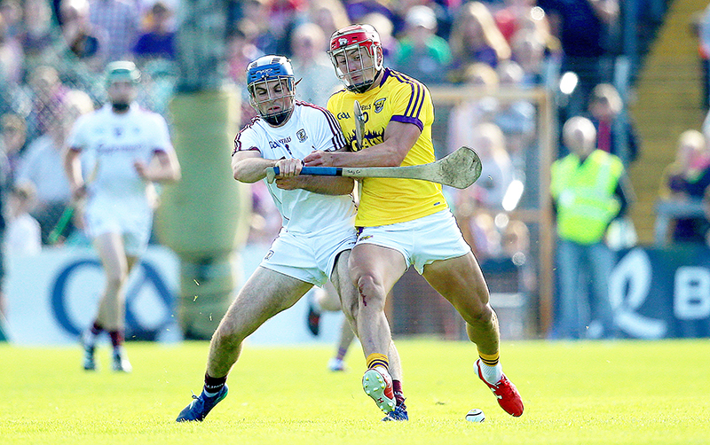 Leinster GAA Senior Hurling Championship Round 4, Innovate Wexford Park, Wexford 2/6/2018 Wexford vs Galway Galway's Johnny Coen with Lee Chin of Wexford Mandatory Credit ©INPHO/Tommy Dickson