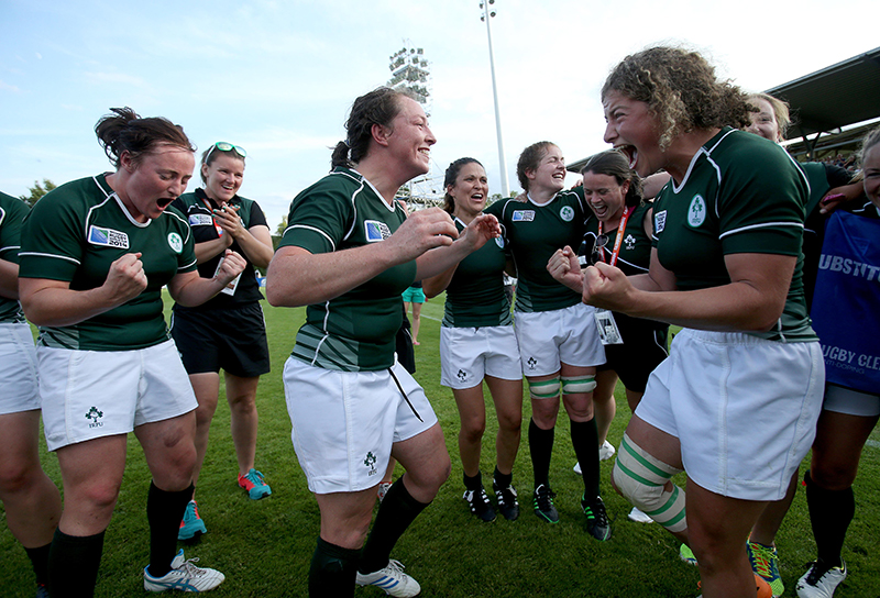 Jenny Murphy's greatest achievement. 2014 Women's Rugby World Cup Pool B, FFR Headquarters, Marcoussis, Paris, France 5/8/2014 Ireland Ailis Egan, Gillian Bourke and Jenny Murphy celebrate Mandatory Credit ©INPHO/Dan Sheridan