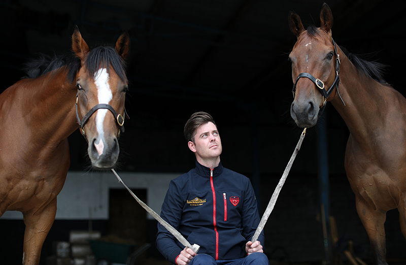 Robbie McNamara Feature, The Curragh, Kildare 21/7/2016 Trainer Robbie McNamara with Chadic (left) and Rathcannon (right) Mandatory Credit ©INPHO/Dan Sheridan